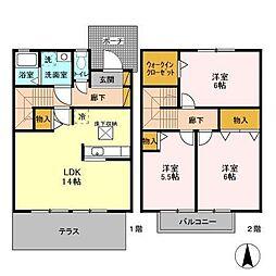 ROYALGARDENKASAHARA J[1階]の間取り