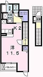 東京都羽村市羽東3丁目の賃貸アパートの間取り
