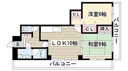 愛知県名古屋市名東区引山2丁目の賃貸マンションの間取り