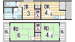 [テラスハウス] 大阪府大東市三箇1丁目 の賃貸【/】の間取り