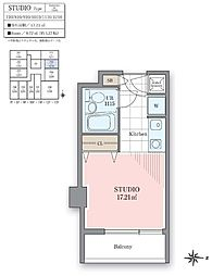 ホテル&レジデンス六本木[710号室]の間取り