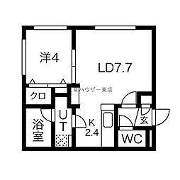 Comfort Life 1階1LDKの間取り