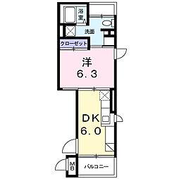 ルル オブ アワジプログレッソ 1階1DKの間取り