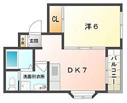 メゾンバニーNO.1[4階]の間取り