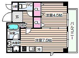 グランパルク西梅田[1階]の間取り