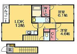 福岡県糟屋郡須惠町大字旅石の賃貸アパートの間取り