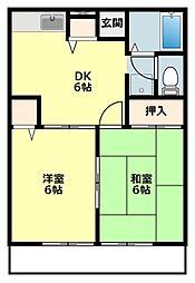 愛知県岡崎市真伝町字四反田の賃貸アパートの間取り