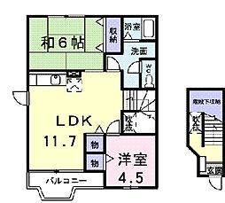 神奈川県伊勢原市高森2の賃貸アパートの間取り