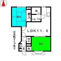 サンセールK・Y  A棟[1階]の間取り