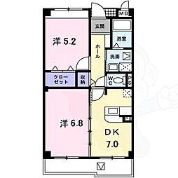 泉北高速鉄道 深井駅 徒歩25分の賃貸マンション 3階2DKの間取り
