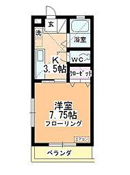 福田ハイツB館[1階]の間取り