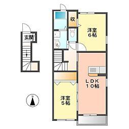愛知県名古屋市西区玉池町の賃貸アパートの間取り