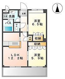 茨城県つくばみらい市陽光台2丁目の賃貸マンションの間取り