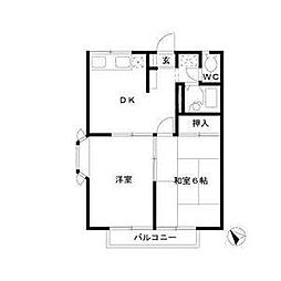 神奈川県横須賀市三春町3丁目の賃貸アパートの間取り