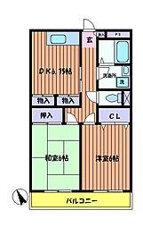 東京都日野市栄町2丁目の賃貸マンションの間取り