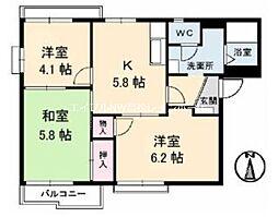 リベラ香西 B棟[2階]の間取り