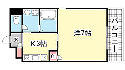 サワクモマンション[403号室]の間取り