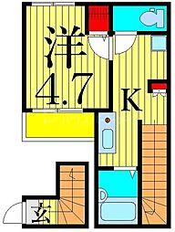 MELDIA東堀切 2階1Kの間取り