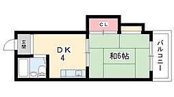 大阪府豊中市曽根西町1丁目の賃貸マンションの間取り