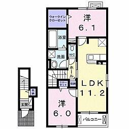 JR久大本線 筑後吉井駅 徒歩24分の賃貸アパート 1階2LDKの間取り