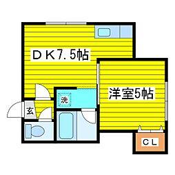 北海道札幌市東区北二十一条東19丁目の賃貸アパートの間取り
