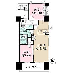 ザ・パークハビオ目黒 11階2LDKの間取り