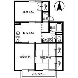 セジュール土居田 B棟[203号室]の間取り