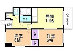 GRAND VALUE KIKUSUI(旧:菊水サカイマンション) 10階2LDKの間取り