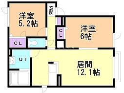 シャーメゾン トワエモア 1階2LDKの間取り