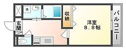 岡山県岡山市北区青江2丁目の賃貸アパートの間取り