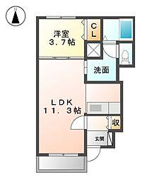 愛知県清須市朝日天王の賃貸アパートの間取り