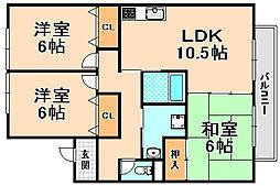 兵庫県伊丹市野間8丁目の賃貸アパートの間取り
