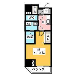 江戸川橋ステーションレジデンス 10階1Kの間取り