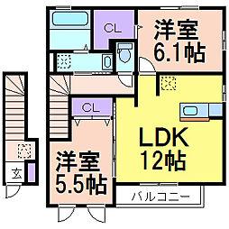 栃木県鹿沼市千渡の賃貸アパートの間取り
