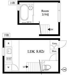 都営三田線 白金台駅 徒歩3分の賃貸マンション 2階1LDKの間取り