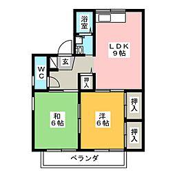 セジュール中田[2階]の間取り