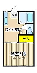 カネヨシハイツ[1-B号室]の間取り