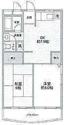 神奈川県川崎市宮前区平2丁目の賃貸マンションの間取り