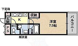 シェモア藤井寺駅前 3階1Kの間取り