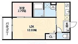 南海高野線 北野田駅 徒歩8分の賃貸アパート 1階1LDKの間取り