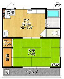 第3おおしま荘2号棟[3号室]の間取り