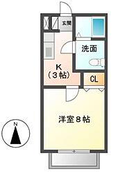 愛知県岡崎市緑丘2丁目の賃貸アパートの間取り