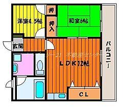 岡山県岡山市北区西古松1丁目の賃貸マンションの間取り