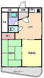 大阪府大阪市東住吉区中野3丁目の賃貸マンションの間取り