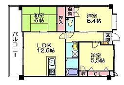 福岡県福岡市博多区浦田1丁目の賃貸マンションの間取り