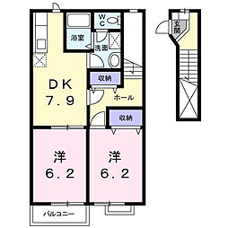 茨城県筑西市女方の賃貸アパートの間取り