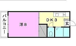 北尾マンション[406 号室号室]の間取り