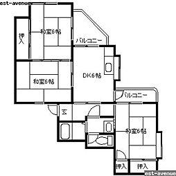 福岡県北九州市小倉南区安部山の賃貸マンションの間取り
