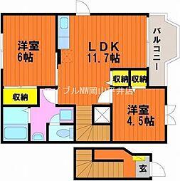 岡山県岡山市中区赤坂南新町の賃貸アパートの間取り