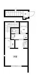 JR総武線 三鷹駅 徒歩12分の賃貸アパート 2階ワンルームの間取り
